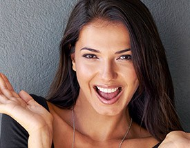 Happy woman showing off flawless smile
